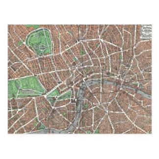 Vintage Map of London (1923) Postcard