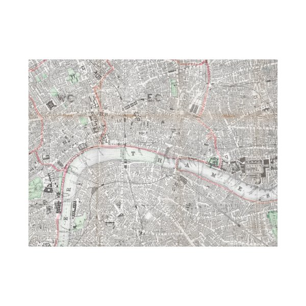 Vintage map of London city Canvas Print
