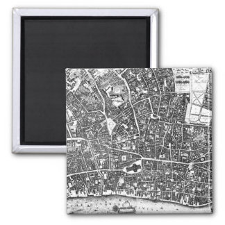 Vintage Map of London England (1677) 2 Inch Square Magnet