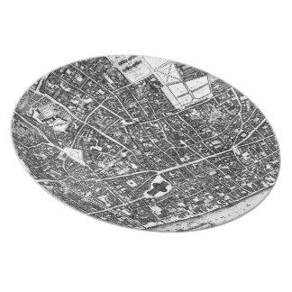 Vintage Map of London England (1677) Dinner Plate