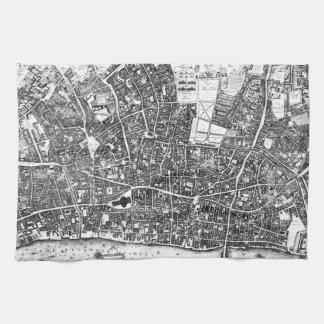 Vintage Map of London England (1677) Hand Towel