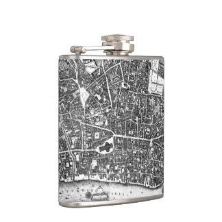 Vintage Map of London England (1677) Hip Flask