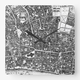 Vintage Map of London England (1677) Square Wall Clock