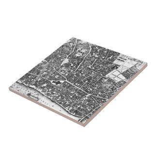 Vintage Map of London England (1677) Tile