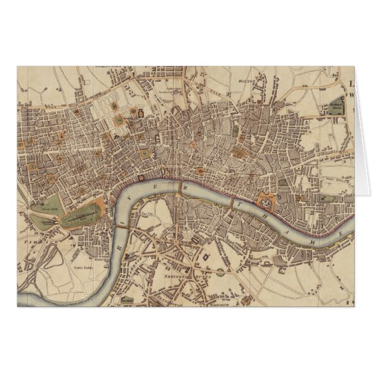 Vintage Map of London England (1807) Card