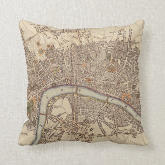 Vintage Map of London England (1807) Throw Pillows