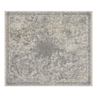 Vintage Map of London England (1855) Poster