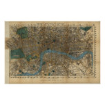 Vintage Map of London England (1860) Print