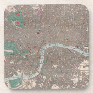 Vintage Map of London England (1862) Drink Coaster