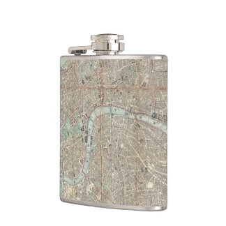 Vintage Map of London England (1862) Hip Flask