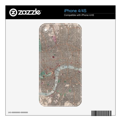 Vintage Map of London England (1862) iPhone 4S Skins