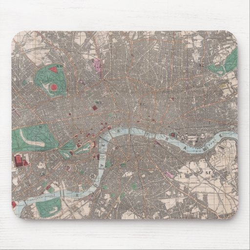 Vintage Map of London England (1862) Mouse Pad