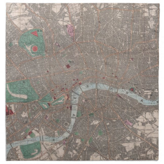 Vintage Map of London England (1862) Napkin