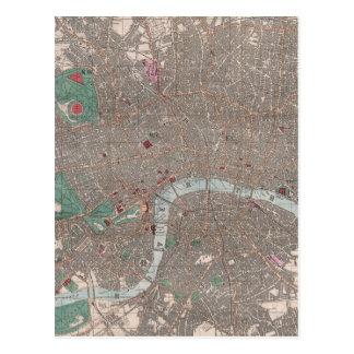 Vintage Map of London England (1862) Postcard