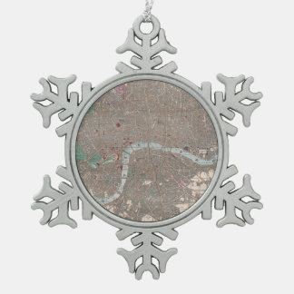 Vintage Map of London England (1862) Snowflake Pewter Christmas Ornament