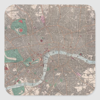 Vintage Map of London England (1862) Square Sticker