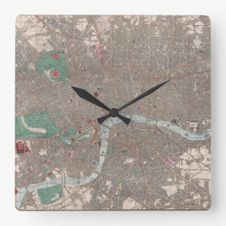Vintage Map of London England (1862) Square Wall Clock