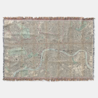 Vintage Map of London England (1862) Throw
