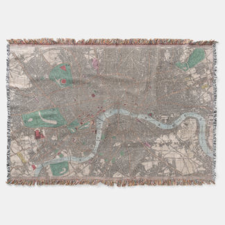 Vintage Map of London England (1862) Throw Blanket