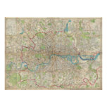 Vintage Map of London England (1899) Poster