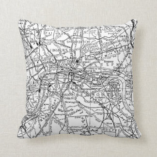 Vintage Map of London England (1911) Throw Pillow