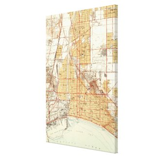 Vintage Map of Long Beach California (1949) 2 Canvas Print