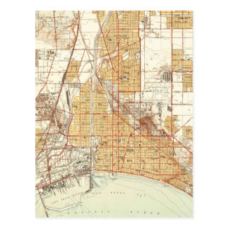 Vintage Map of Long Beach California (1949) 2 Postcard