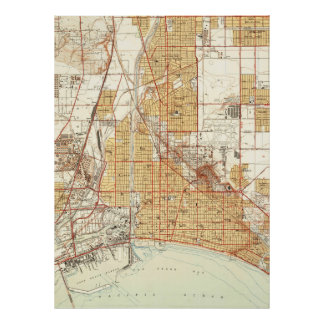 Vintage Map of Long Beach California (1949) 2 Poster