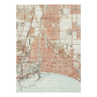 Vintage Map of Long Beach California (1949) Poster