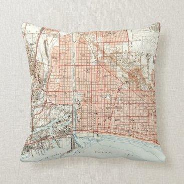 Vintage Map of Long Beach California (1949) Throw Pillow