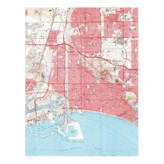 Vintage Map of Long Beach California (1964) 2 Postcard