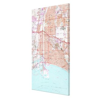 Vintage Map of Long Beach California (1964) Canvas Print