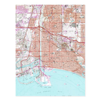 Vintage Map of Long Beach California (1964) Postcard