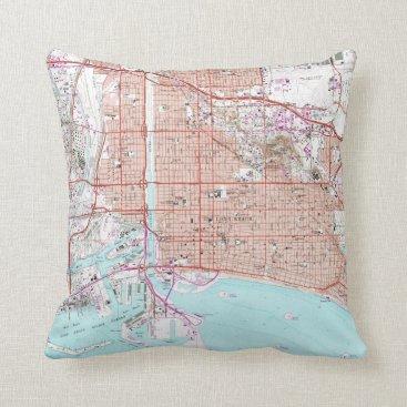 Vintage Map of Long Beach California (1964) Throw Pillow