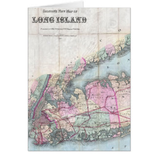 Vintage Map of Long Island (1880) Card