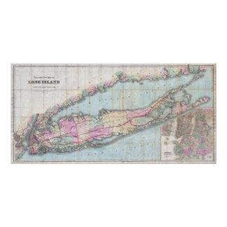 Vintage Map of Long Island (1880) Print