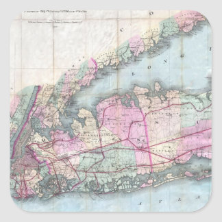 Vintage Map of Long Island (1880) Square Sticker