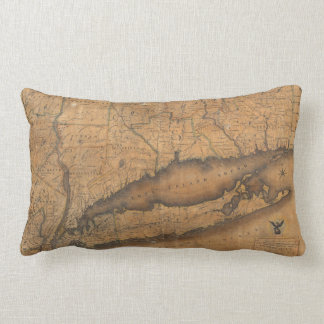 Vintage Map of Long Island and Connecticut (1815) Lumbar Pillow