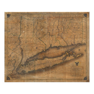 Vintage Map of Long Island and Connecticut (1815) Poster