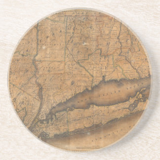 Vintage Map of Long Island and Connecticut (1815) Sandstone Coaster