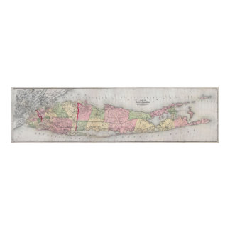 Vintage Map of Long Island New York (1873) Poster