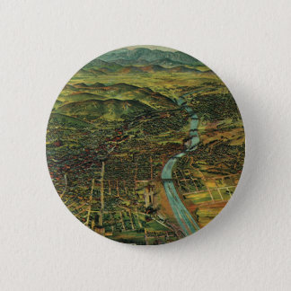 Vintage Map of Los Angeles, California and River Pinback Button