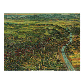 Vintage Map of Los Angeles, California and River Postcard
