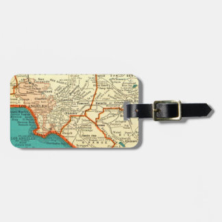 Vintage Map of LOS ANGELES CALIFORNIA Luggage Tag
