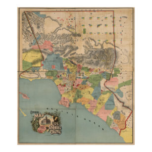 Los angeles posters zazzle vintage map of los angeles county ca 1888 poster yadclub Gallery