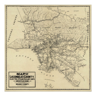 Vintage Map of Los Angeles County, California 1912 Poster
