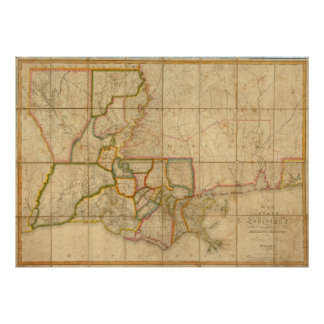 Vintage Map of Louisiana (1816) Posters