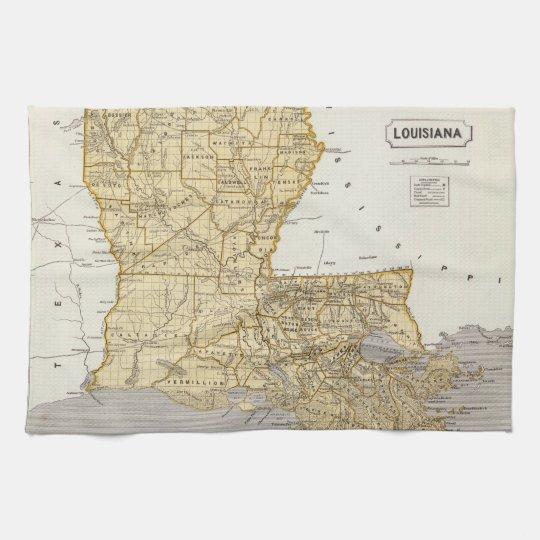Vintage Map of Louisiana (1845) Towel