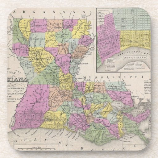 Vintage Map of Louisiana (1853) Beverage Coasters