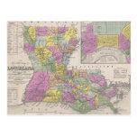 Vintage Map of Louisiana (1853) Postcard